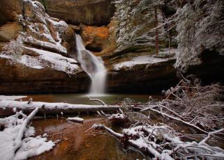 обоя природа, водопады, деревья, снег