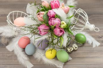Картинка праздничные пасха пасхальные яйца тюльпаны цветы
