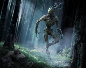 обоя фэнтези, существа, свет, арт, трава, деревья, лягушка, чудовище, фантастика, лес, существо