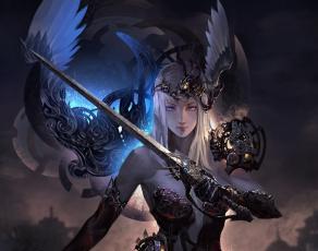 обоя фэнтези, ангелы, ангел, меч, девушка