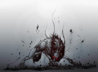обоя фэнтези, оборотни, волк, фон, взгляд, глаза
