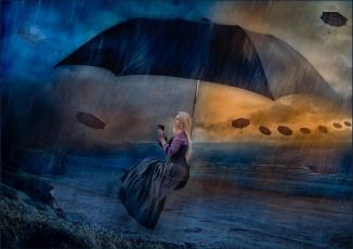 обоя разное, компьютерный дизайн, art, зонт, девушка, шторм, дождь