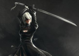 Картинка видео+игры nier +automata девушка меч
