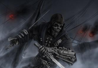 обоя фэнтези, нежить, череп, фон, оружие