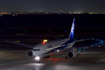 обоя авиация, пассажирские самолёты, огни, пассажирский, ночь, boeing, самолёт, аэродром