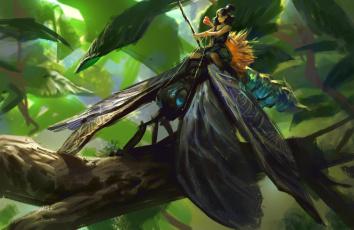 обоя фэнтези, существа, листья, ветка, лес, наездник, насекомое, арт, фея