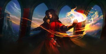 обоя фэнтези, маги,  волшебники, арки, огонь, замок, парень, кинжал, магия, маг, капюшон, плащ