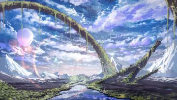 обоя фэнтези, пейзажи, небо, река, by, smile, горы, природа, воздушный, шар