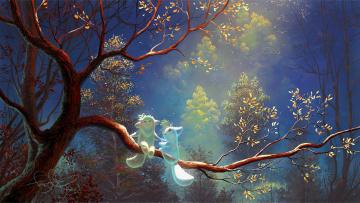 обоя фэнтези, призраки, by, fear-sas, ночь, природа, дерево, лесные, духи