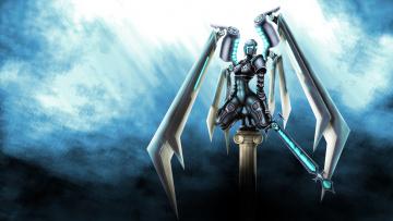 обоя фэнтези, роботы,  киборги,  механизмы, девушка, фон, униформа, меч