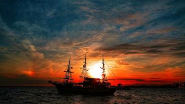 обоя корабли, парусники, корабль, в, лучах, закатного, солнца