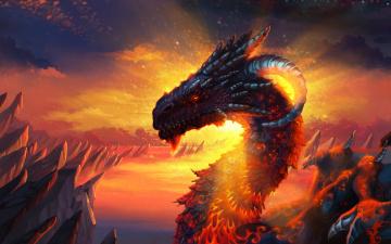 обоя фэнтези, драконы, лучи, голова, рога, чешуя, сияние, дракон, скалы, рассвет