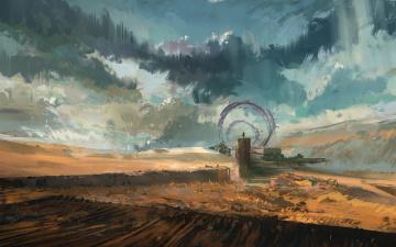 обоя фэнтези, иные миры,  иные времена, арт, врата, ворота, человек, небо, фантастика, облака, пустыня, пейзаж