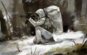 обоя фэнтези, люди, камуфляж, автомат, солдат, зима, капюшон, снег