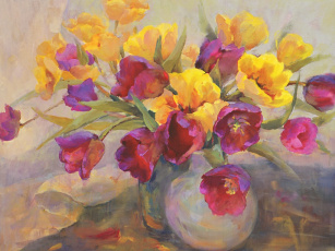 обоя рисованные, цветы