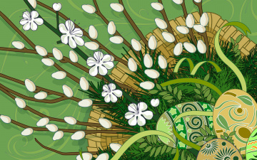 Картинка векторная графика яйца ветки верба пасха корзина