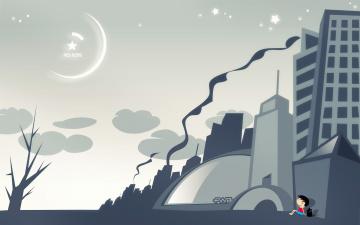 обоя векторная графика, город , city, дерево, дым, облака, звезды, небо, собака, человечек, город, здания, дома