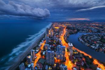 обоя города, - панорамы, побережье