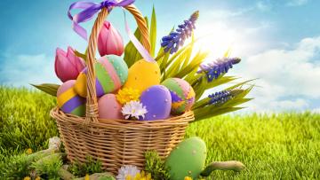 обоя праздничные, пасха, бантик, яйца, тюльпаны, корзинка, солнечный, свет, праздник, крашенки