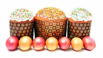 обоя праздничные, пасха, праздники, выпечка, куличи, крашенки, Яйца