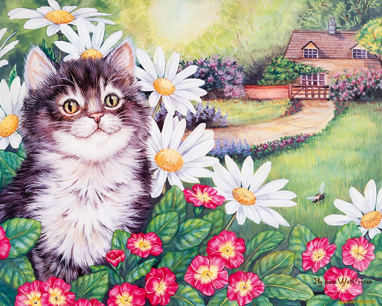Нарисовать котика на открытке, открытки