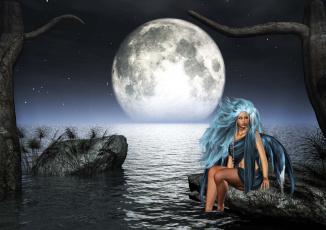 Картинка 3д графика people люди девушка море планета вечер