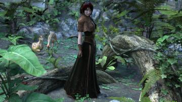 Картинка 3д+графика фантазия+ fantasy девушка взгляд фон лес олени