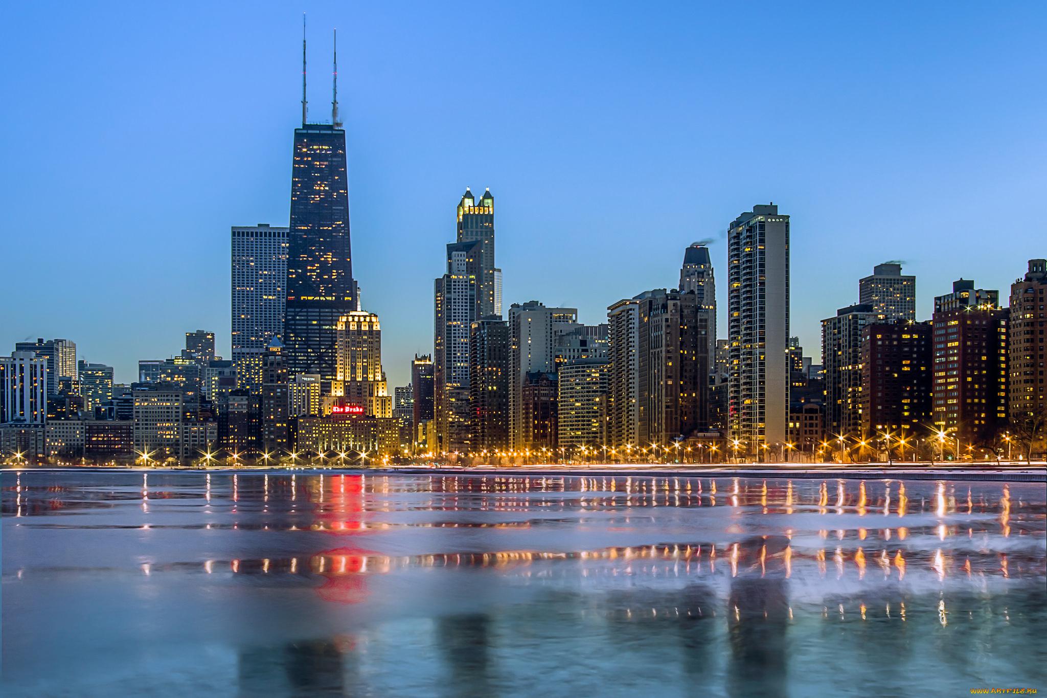 чикаго огни город Chicago lights the city бесплатно