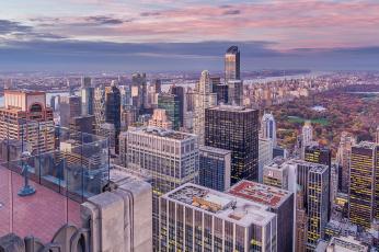 обоя rockefeller center, города, нью-йорк , сша, панорама, небоскребы