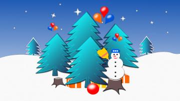 обоя праздничные, векторная графика , новый год, снеговик, елки