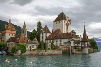 обоя oberhofen castle lake thun, города, замок оберхофен , швейцария, простор