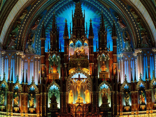 обоя notre, dame, basilica, montreal, canada, интерьер, убранство, роспись, храма