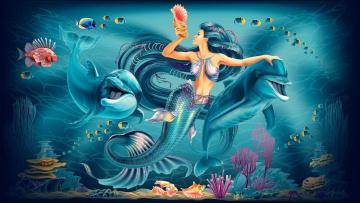 Картинка фэнтези русалки девушка ракушка русалка арт дельфины кораллы рыбы