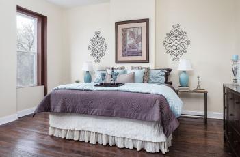 обоя интерьер, спальня, дизайн, кровать, декор