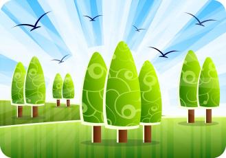 обоя векторная графика, природа , nature, холмы, деревья