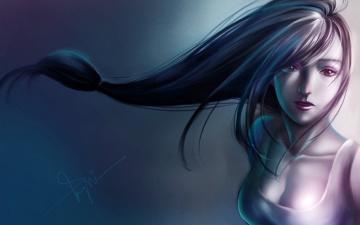 Картинка рисованные люди девушка фон волосы арт