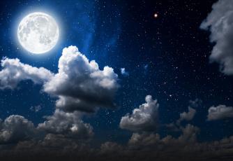 обоя космос, луна, облака