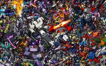 обоя мультфильмы, transformers, роботы, трансформеры, коллаж