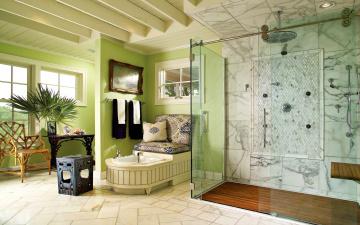Картинка интерьер ванная туалетная комнаты душ вазон стул подушки картина ванна