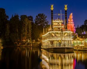 Картинка корабли пароходы ночь пароход река