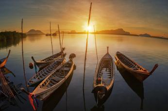 Картинка корабли лодки +шлюпки закат горизонт