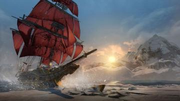 Картинка корабли 3d горы парусник лед