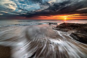 Картинка природа побережье берег море закат
