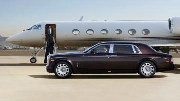 обоя rolls royce phantom 2016, автомобили, rolls-royce, rolls, royce, phantom, самолёт, аэродром