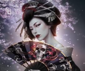 обоя фэнтези, девушки, арт, прическа, заколки, череп, кимоно, гейша, девушка, сакура, reborn, kagero, веер