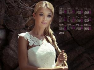 обоя календари, девушки, белое, платье