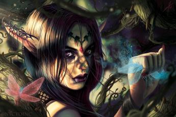 обоя фэнтези, эльфы, растения, взгляд, эльфийка, fantasy, уши, art, шипы