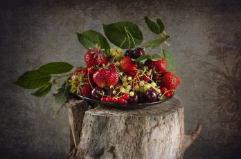 обоя еда, фрукты,  ягоды, ягоды, смородина, клубника, миска, много