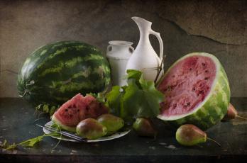 обоя еда, натюрморт, август, арбуз, груши, лето, светлана, андреянова, фрукты