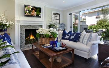Картинка интерьер гостиная цветы камин телевизор подушки диваны